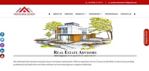 Mehta Real Estate - Our latest Project - Logic Web Services